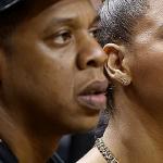 Beyoncé i Jay-Z na meczu